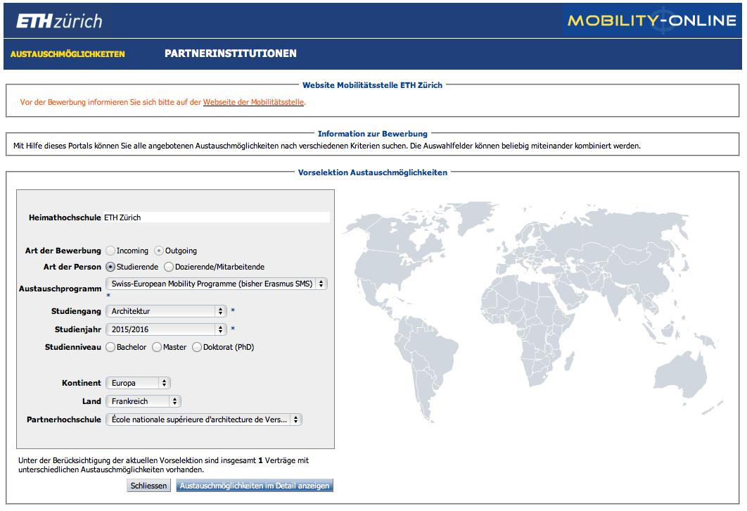 Mobility Online Departement Architektur Eth Zürich